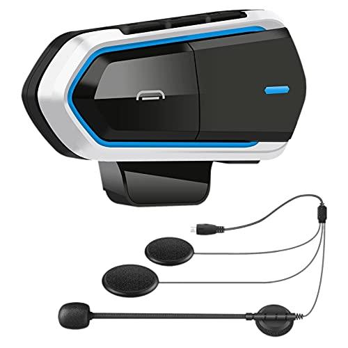 Gaoominy B35 MicróFono de Intercomunicador de Motocicleta, 5.0 Casco Auriculares Interfono Radio FM HI-FI Calidad de Sonido Siri Azul