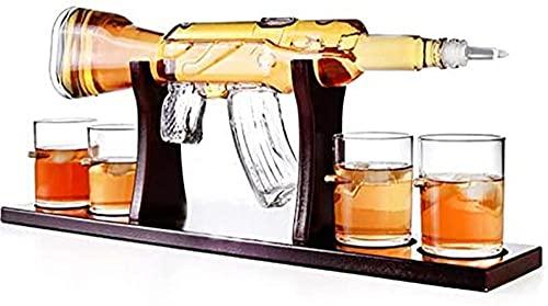 Decantador de whisky con 4 vasos de bala elegantes 800 ml M16 decantador de pistola y base de madera para todos los licores