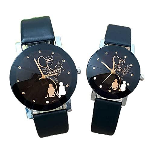 ANLKUJHF Moda Preciosa Clásica Hombres Mujeres Casual Relojes de Pareja de Cuarzo PU Banda de Cuero de Acero Inoxidable Reloj de Pulsera Redondo Para Regalo de Cumpleaños (Dos opciones)
