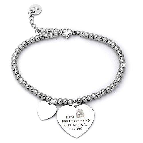 Beloved Braccialetto da donna, bracciale in acciaio emozionale - frasi, pensieri, parole con charms - ciondolo pendente - misura regolabile - incisione - argento (MOD 2)