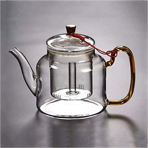 YONGYONGCHONG Tetera de vidrio transparente para té de hojas sueltas, té floreciente, gran capacidad, resistentes al calor, con filtro extraíble, accesorios de té de 1,2 l
