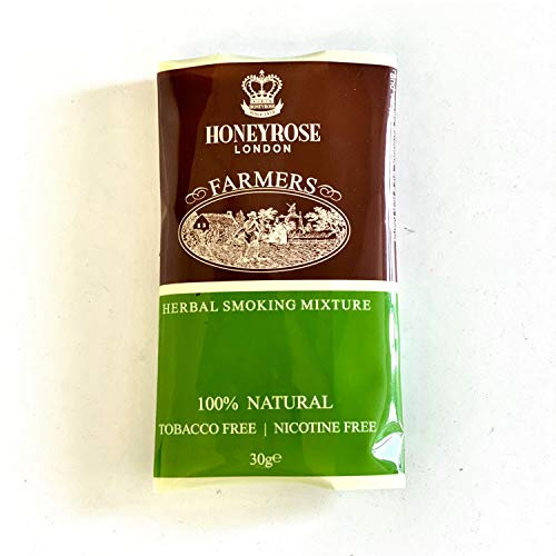 Honeyrose Farmers - Tobacco & Nicotine Free Smoking Mixture, 1 pouch/30gr/1oz, Made in England