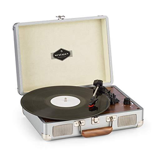 auna Peggy Sue Schallplattenspieler mit Lautsprecher - Vinyl-Plattenspieler, spielt Schallplatten mit 33, 45 und 78 U/min ab, Cinch- und USB-Ausgang, Metallschutzecken, Silber