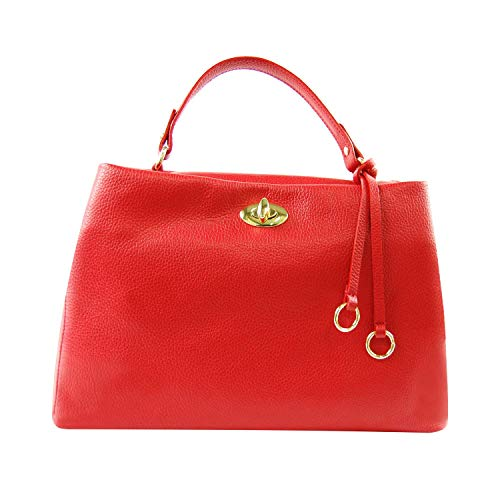 Unbekannt Genuine leather Tasche Frau aus Echtem Leder Made IN Italy Blau, Rot, Grau, Leder, Dasty Rosen, Senf - Rot