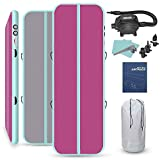 LIVIQILY Inflatable Air Track Home Gymnastics Tumbling Mat Gym Yoga Mat Cheer Track Floor with Air Pump for Tumble/Gym/Training/Cheerleading/Water (Pink, 13x3.3Ft)