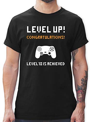 Geburtstagsgeschenk Geburtstag - 18. Geburtstag - Gamer Level 18 - XXL - Schwarz - 18 Jahre Geburtstag Geschenk - L190 - Tshirt Herren und Männer T-Shirts