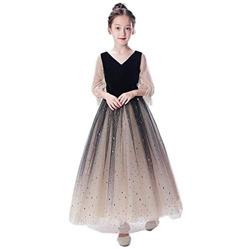 JenLn Girls' Abendkleider, Kleine Mädchen Prinzessin Kleider, Western Style Dinner Party Fluffy Garn, Kinder Klavier Kostüme, Moderator Prinzessin Kommunion Tüll-Kleid (Color : Black, Size : 160cm)