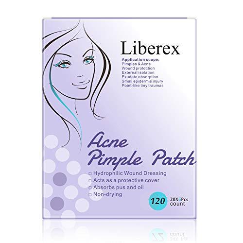 Liberex acne puistpatch - onzichtbare hydrocolloïden absorberende pleisters, tegen acne en puistjes verwijderen, 20 stuks patches * 3 vellen, diameter 12 mm 120pcs