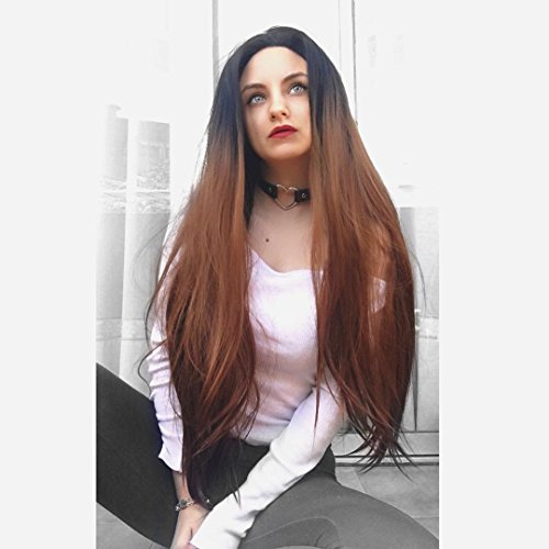 HEAHAIR Ombre Brown Synthetic Lace Front Wigs Long Straight Heat Resistant Fiber Lace Front Wigs for Halloween