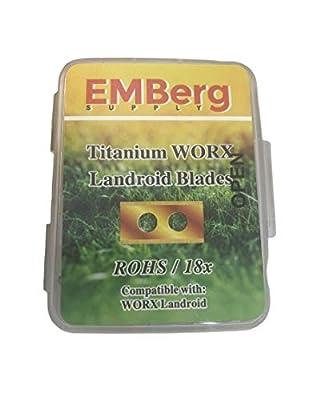 EMBerg Endurance Blades (18 Pack) for Worx Landroid Robotic Mowers (Titanium Worx Blade)