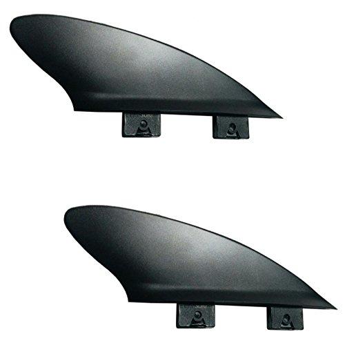 2'Flexy Estabilizador de aleta de punta de surf corta a Sup, mínimo Flex para Río y Surf 2Tab Mini caja + FCS Compatible, Black, Twin (both are 50/50 foil)