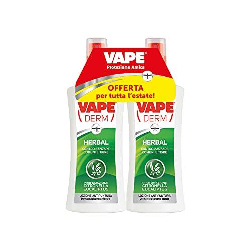 Vape Derm Vape Derm Herbal Repellente Zanzare Comuni e Tigri, Lozione Bambini e Adulti No Gas, 2 x 100 ml