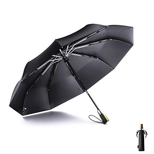 Meiyijia Regenschirm sturmfest bis 140 km/h, holzgriff,Auf-Zu-Automatik 10 Edelstahl-Rippen Teflon-Beschichtung Leicht Kompakt Windsicher/Schwarz / 115 cm Spannweite