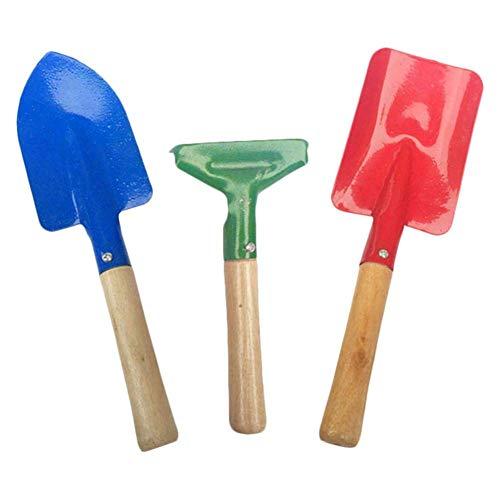LIUCHANG Kinder Gartenarbeit Werkzeuge 3 Stück Set mit Rechenschaufel mit robustem Holzgriff Garten Spielzeug...