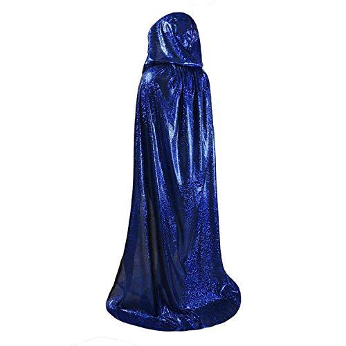 Capa de Halloween con capucha para adulto/hombre o mujer – para disfraz/disfraz de vampiro capa larga con capa para Halloween, disfraz de bruja azul 170