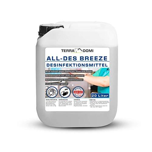 TerraDomi All-Des Breeze 20 Liter parfümiertes schnell Desinfektionsmittel gegen 99,9 aller Viren, Bakterien, Pilze oder Sporen, für Hände und Flächendesinfektion, Made in Germany