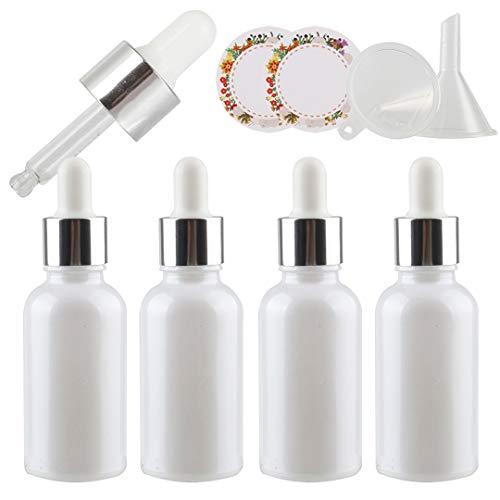 TIANZD 4 Pieza, Vacío 30ml Perle Blanco Botellas de Cuentagotas Cristal, con Anillo de Plata y pipeta, para Aromaterapia Aceites Esenciales y Perfume