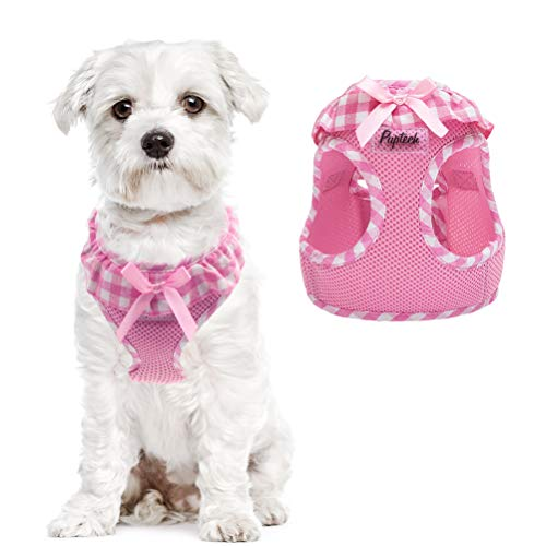 PUPTECK Checkered Frills Soft Mesh Dog Vest Harness Puppy Padded Pet Harnesses for Cat Small Dogs (XS: Chest 9.4-10.2