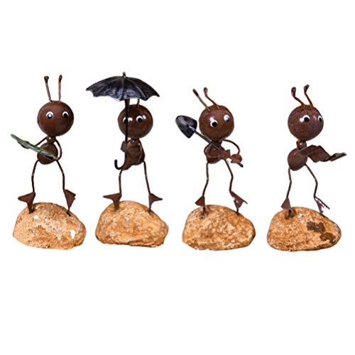 GARNECK 4 Piezas de Modelos de Hormigas exquisitos creativos adorables de Hierro artesanía Hormigas Adornos de Escritorio de Juguete para el Escritorio del Coche