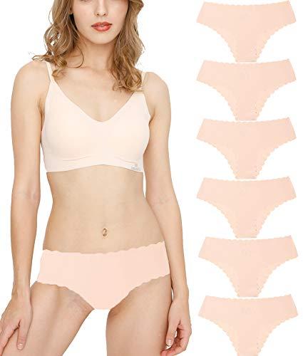 Donpapa Bragas para Mujer Pack sin Costuras Invisible Braguitas Microfibra Rayas Brief Bikini Culotte,Pack de 6 (Beige XS)