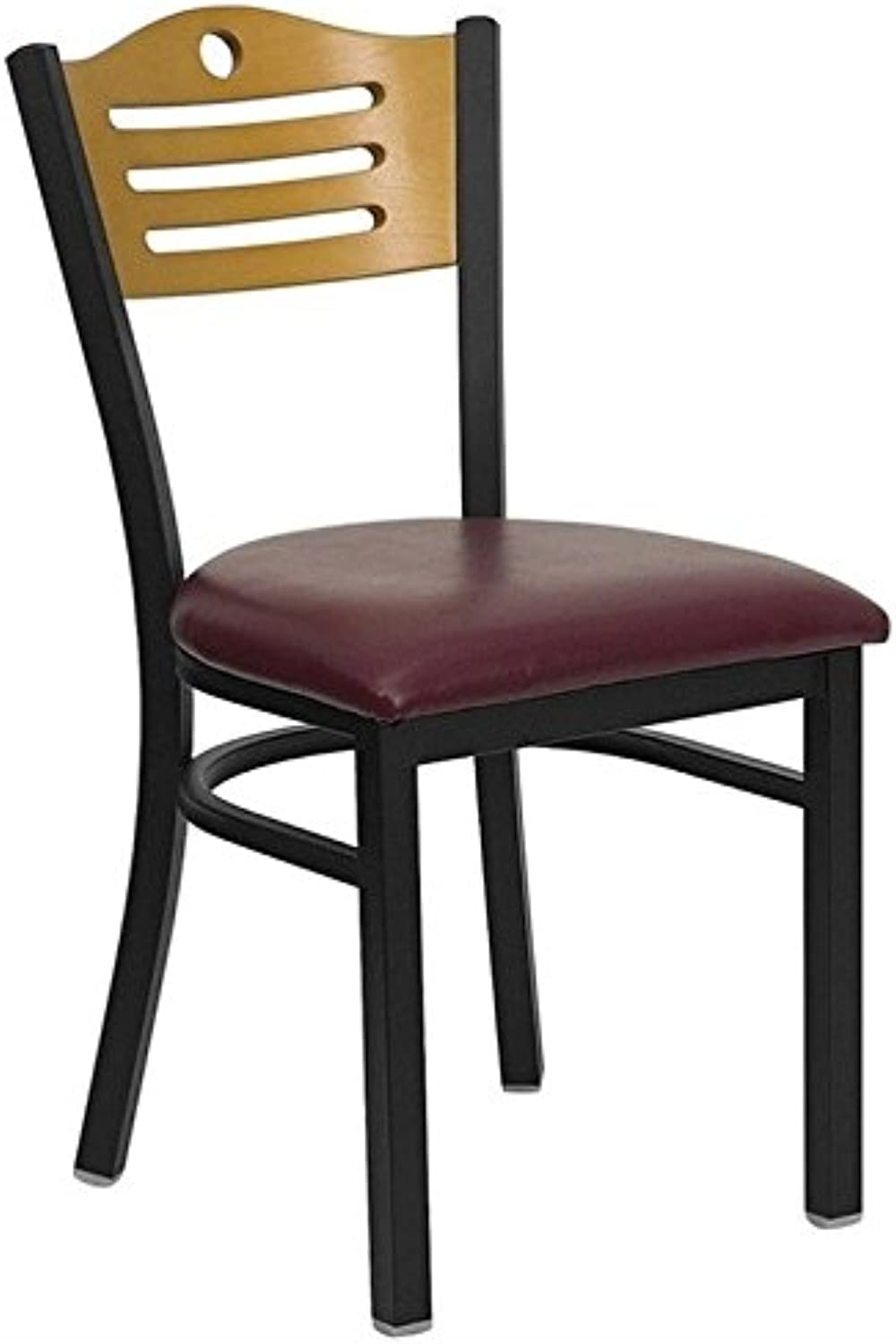 Bowery Hill Black Slat Back Dining Chair in Burgundy