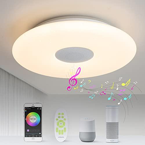 Lámpara de techo LED inteligente, 36W, compatible con Alexa y Google Home, regulable con mando a distancia, cambio de color, altavoz Bluetooth, para salón, dormitorio, baño, WiFi y App, Ø30cm 3000lm