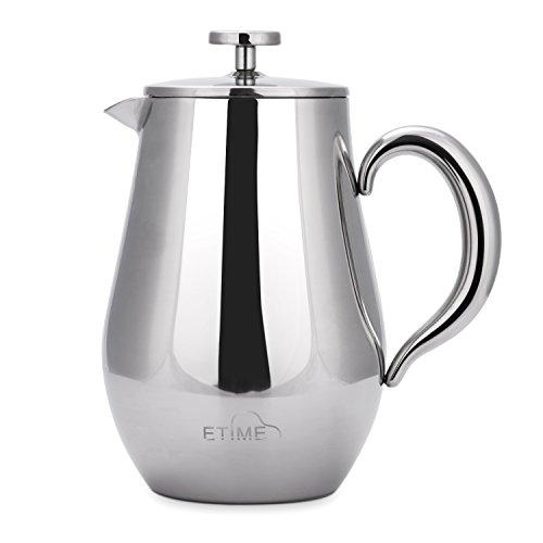 ETiME Kaffeebereiter Kaffeekanne Teebereiter Pressfilterkanne Edelstahl thermoisoliert groß 1 L Silber (Bauchig 1L Silber)