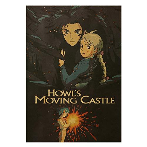 CAR-TOBBY Hayao Miyazaki Anime Poster Howl's Moving Castle Retro Cartoon Poster für Kinderzimmer Wanddekoration Gemälde Comic Poster
