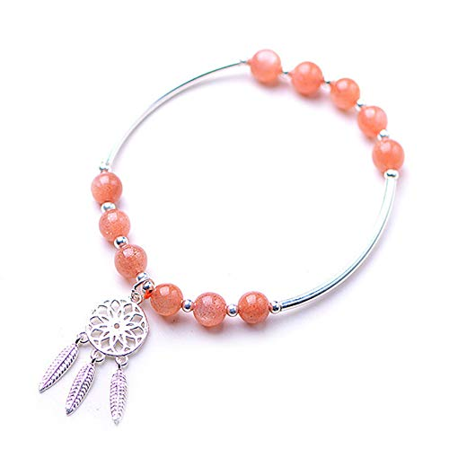Wealth Feng Shui Bracelet Natural Sun Stone Dream Catcher Pendant Bracelet Bracelet Feng Shui Gifts for Women Attract Money for Good Fortune Courageous Lucky Gift Bring Prosperity,S925 silver