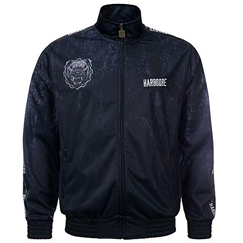 100% Hardcore Trainingsjacke Wraith, Black Techno Gabber Sportjacket Dog Print (M) (S)