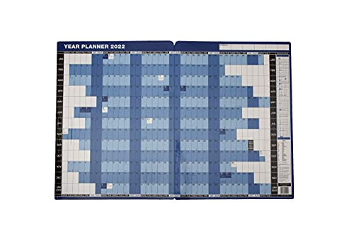2022 Mounted Year Planner Wall Calendar Blue Board Backed