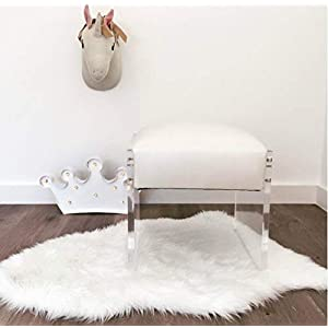 Machine Washable Faux Sheepskin White Rug 2′ x 3′ – Soft and Silky – Perfect for Baby's Room, Nursery, playroom (Pelt Small White)