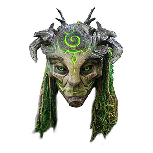 Rlevolexy Cubierta de cabeza de ltex de elfo del bosque, disfraz realista, cubierta completa de la cabeza de mscaras, disfraz de Halloween, cosplay