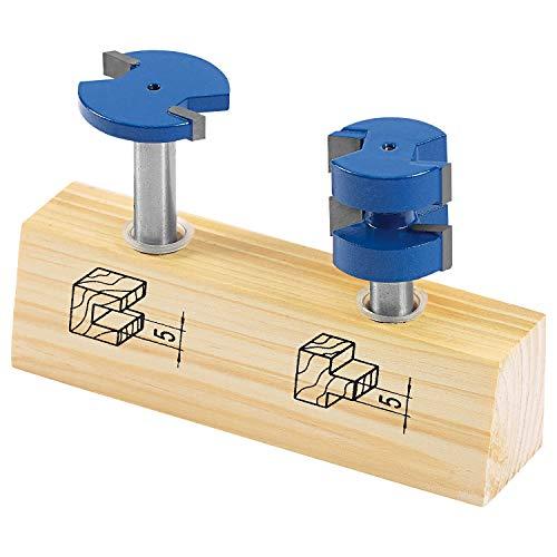 LUX-TOOLS HM Oberfräser-Set, 2-teilig | Fräser-Set inkl. Scheibennutfräser und Federnutfräser mit jeweils 5mm Fräser-Länge und 8mm Schaft