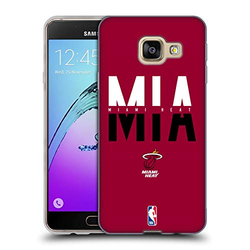 Ufficiale NBA Tipografia 2019/20 Miami Heat Cover in Morbido Gel Compatibile con Samsung Galaxy A3 (2016)