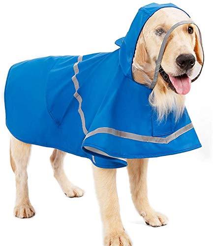 DHGTEP Chubasquero para Perros, Abrigo Impermeable para Perros con Capucha Y Reflectores, Chaqueta De Lluvia Ultraligera Y Transpirable para Perros Grandes/medianos/pequeños (Color : Blue, Size : XL)