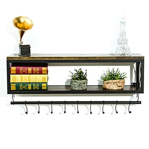 Rack support en fer forgé en métal support mural de mode étagère en bois massif support de stockage simple de cuisine de salon/support de stockage (Color : Black, Size : 60x20x45cm)