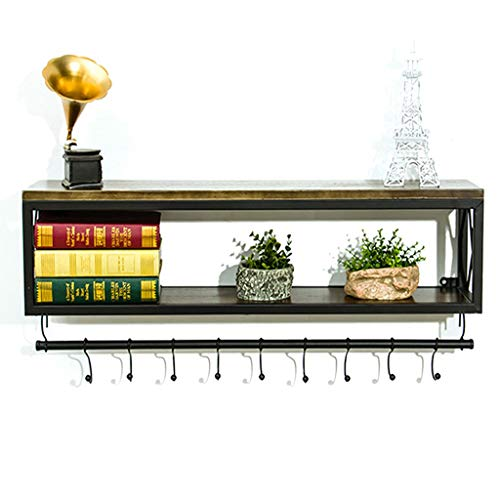 Rack support en fer forgé en métal support mural de mode étagère en bois massif support de stockage simple de cuisine de salon/support de stockage (Color : Black, Size : 60x20x45cm)