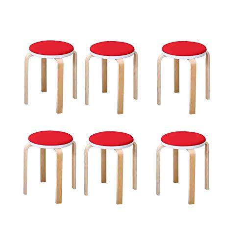 RENJUN Banco de madera 6 piezas apilable taburete silla interior exterior hogar cocina silla reunión (color: rojo)