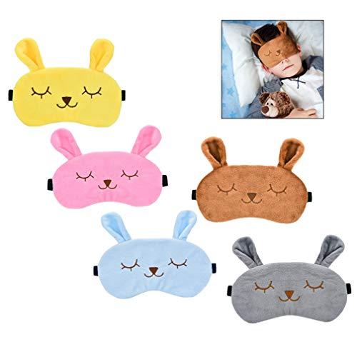 iwobi 5 Stks Cartoon Bunny Slaap Masker, Konijn Oog Masker Zachte Pluche Blinddoek Oog Cover voor Vrouwen Meisjes