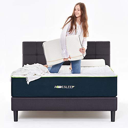 "Acesleep 12"" Cool Gel Memory Foam Mattress King Size & Bamboo Charcoal Foam"