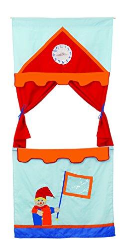 roba Tür Kasperletheater, platzsparendes Kinder Puppentheater inkl. 6 Handpuppen, Kaspertheater zum Aufhängen mit Stoffbespannung