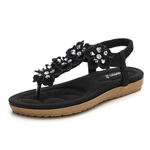 Sandalias para mujer, zapatos planos de talla grande, zapatos de verano, sandalias de flores de perlas cruzadas, sandalias de playa, sandalias informales, color negro, 40