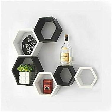 Wooden Hexagon Shape Floating Wall Shelves (Blaclk&White,Set of 6)