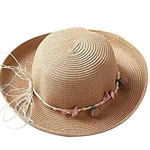 JUNGEN Sombrero de Playa para Mujer Sombrero de Paja con Decoración de...