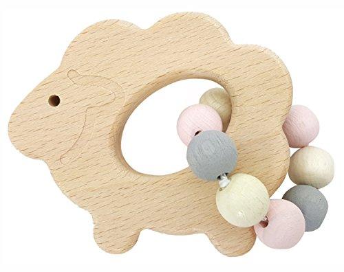 Hess 11112 - Holzspielzeug, Greifrassel Schaf aus Holz, nature rosa