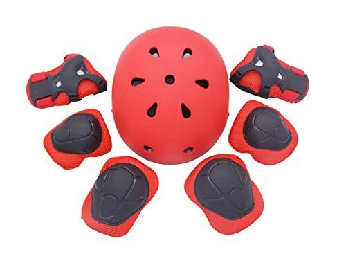 Yx-Outdoor - Protector de muñeca para el codo y la rodilla, para equilibrar el coche, girar, ciclismo, monopatín, juego de siete piezas, color rojo, tamaño L