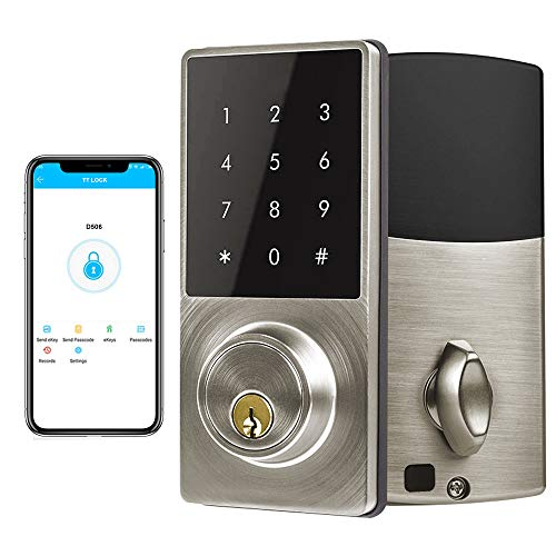 Smart Deadbolt Lock, LED Keypad Door Lock, Electronic Bluetooth Enabled APP, Digit Keyless Entry, Klwenas Maec Easy to Install, Silver