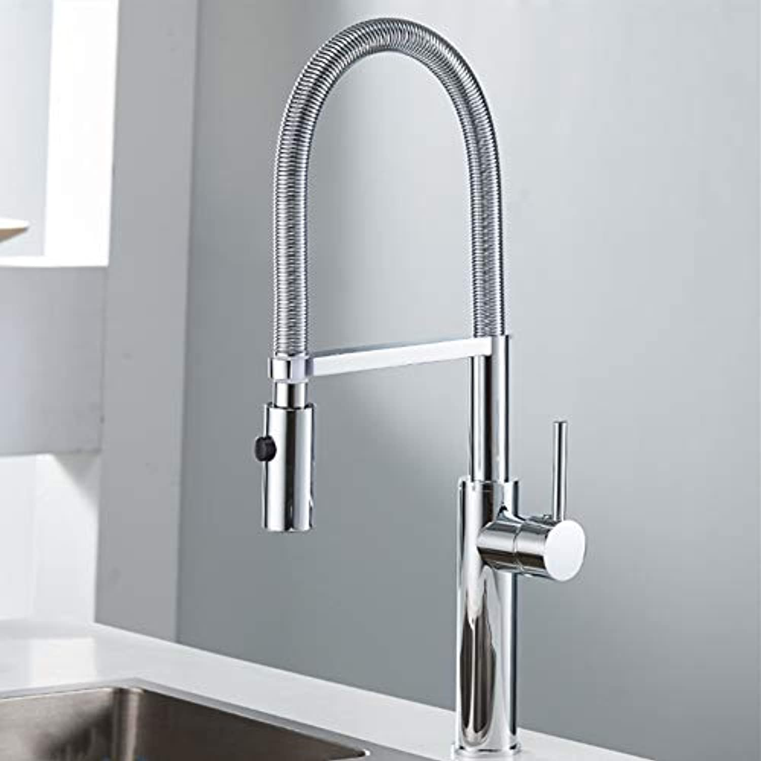 Küchen-Wasserhahn Küche Faucet Newly Design 360 Swivel Solid Brass Brass Single Handle Mixer Sink Tap Chrome Hot And Cold Water chrom