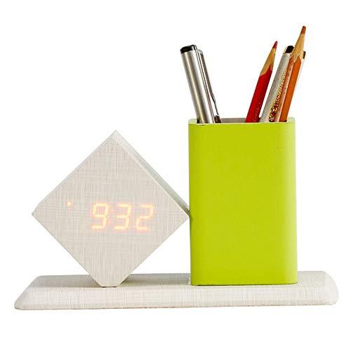 Despertador LED despertador relojes digitales con Silent titular de la pluma for la seguridad del escritorio Relojes Inicio decoracin de la tabla Despertador ( Color : Red light , Size : Gratis )